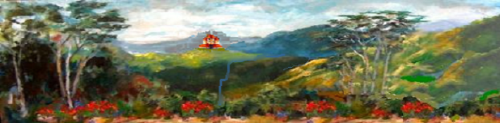 Costa Rica Vista with Villa, an original oil painting by Clareen Barrett
